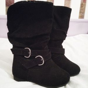 Baby Girl Boots Black Buckle Size 5